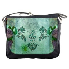 Music, Decorative Clef With Floral Elements Messenger Bags by FantasyWorld7