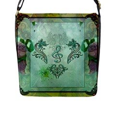 Music, Decorative Clef With Floral Elements Flap Messenger Bag (l)  by FantasyWorld7