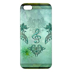 Music, Decorative Clef With Floral Elements Iphone 5s/ Se Premium Hardshell Case by FantasyWorld7