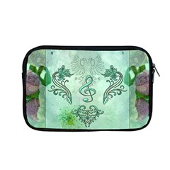Music, Decorative Clef With Floral Elements Apple Macbook Pro 13  Zipper Case by FantasyWorld7
