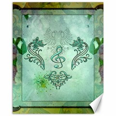 Music, Decorative Clef With Floral Elements Canvas 11  X 14   by FantasyWorld7