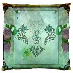 Music, Decorative Clef With Floral Elements Large Flano Cushion Case (two Sides) by FantasyWorld7