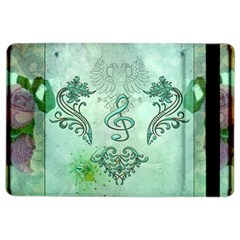 Music, Decorative Clef With Floral Elements Ipad Air 2 Flip by FantasyWorld7
