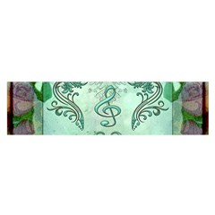 Music, Decorative Clef With Floral Elements Satin Scarf (oblong) by FantasyWorld7