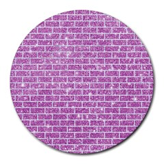 Brick1 White Marble & Purple Glitter Round Mousepads by trendistuff