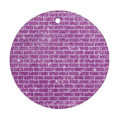 Brick1 White Marble & Purple Glitter Round Ornament (two Sides) by trendistuff