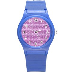 Brick1 White Marble & Purple Glitter Round Plastic Sport Watch (s) by trendistuff