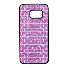 Brick1 White Marble & Purple Glitter Samsung Galaxy S7 Black Seamless Case by trendistuff
