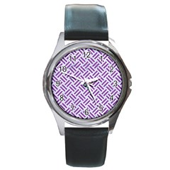 Woven2 White Marble & Purple Denim (r) Round Metal Watch by trendistuff