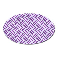 Woven2 White Marble & Purple Denim (r) Oval Magnet by trendistuff