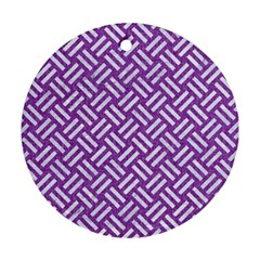 Woven2 White Marble & Purple Denim Round Ornament (two Sides) by trendistuff