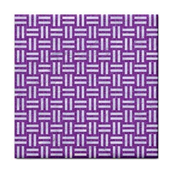 Woven1 White Marble & Purple Denim Tile Coasters by trendistuff