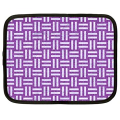 Woven1 White Marble & Purple Denim Netbook Case (large) by trendistuff