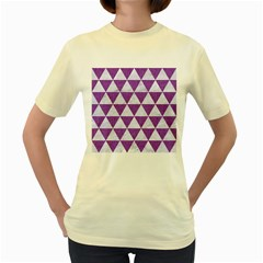 Triangle3 White Marble & Purple Denim Women s Yellow T Shirt by trendistuff