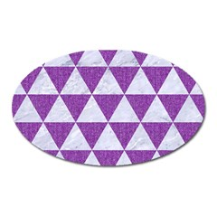 Triangle3 White Marble & Purple Denim Oval Magnet
