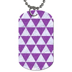 Triangle3 White Marble & Purple Denim Dog Tag (one Side) by trendistuff