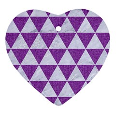 Triangle3 White Marble & Purple Denim Heart Ornament (two Sides) by trendistuff