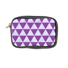 Triangle3 White Marble & Purple Denim Coin Purse