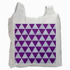 Triangle3 White Marble & Purple Denim Recycle Bag (one Side) by trendistuff