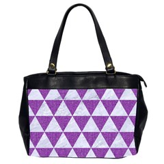 Triangle3 White Marble & Purple Denim Office Handbags (2 Sides)  by trendistuff