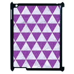 Triangle3 White Marble & Purple Denim Apple Ipad 2 Case (black) by trendistuff