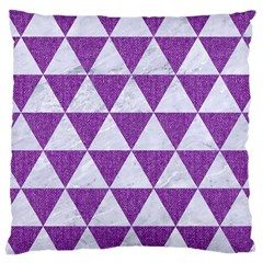 Triangle3 White Marble & Purple Denim Large Cushion Case (two Sides) by trendistuff