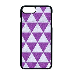 Triangle3 White Marble & Purple Denim Apple Iphone 7 Plus Seamless Case (black) by trendistuff