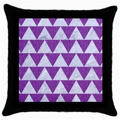Triangle2 White Marble & Purple Denim Throw Pillow Case (black)