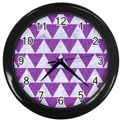 Triangle2 White Marble & Purple Denim Wall Clocks (black)
