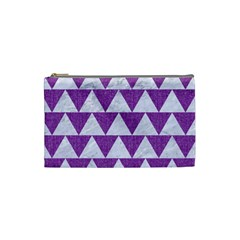 Triangle2 White Marble & Purple Denim Cosmetic Bag (small)  by trendistuff