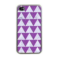 Triangle2 White Marble & Purple Denim Apple Iphone 4 Case (clear) by trendistuff