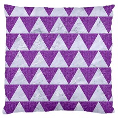 Triangle2 White Marble & Purple Denim Large Cushion Case (two Sides) by trendistuff