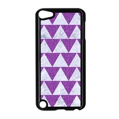 Triangle2 White Marble & Purple Denim Apple Ipod Touch 5 Case (black) by trendistuff