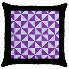 Triangle1 White Marble & Purple Denim Throw Pillow Case (black)