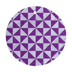 Triangle1 White Marble & Purple Denim Round Ornament (two Sides) by trendistuff