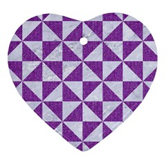 Triangle1 White Marble & Purple Denim Heart Ornament (two Sides) by trendistuff