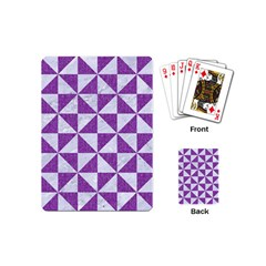 Triangle1 White Marble & Purple Denim Playing Cards (mini)  by trendistuff