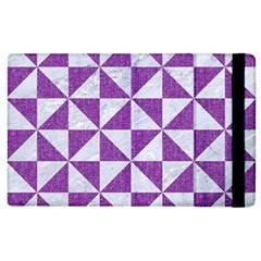 Triangle1 White Marble & Purple Denim Apple Ipad 2 Flip Case by trendistuff