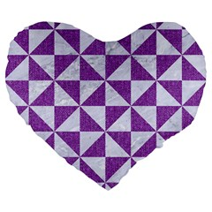 Triangle1 White Marble & Purple Denim Large 19  Premium Flano Heart Shape Cushions by trendistuff