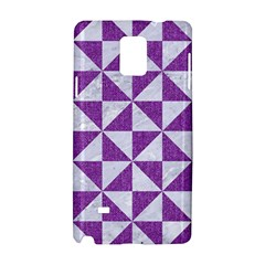 Triangle1 White Marble & Purple Denim Samsung Galaxy Note 4 Hardshell Case by trendistuff