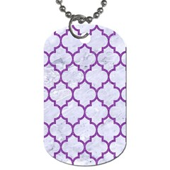 Tile1 White Marble & Purple Denim (r) Dog Tag (one Side) by trendistuff