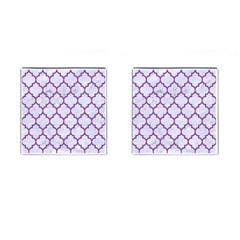Tile1 White Marble & Purple Denim (r) Cufflinks (square) by trendistuff