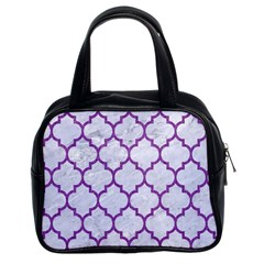Tile1 White Marble & Purple Denim (r) Classic Handbags (2 Sides) by trendistuff