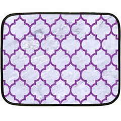 Tile1 White Marble & Purple Denim (r) Double Sided Fleece Blanket (mini)