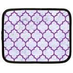 TILE1 WHITE MARBLE & PURPLE DENIM (R) Netbook Case (XXL)  Front