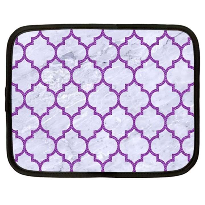 TILE1 WHITE MARBLE & PURPLE DENIM (R) Netbook Case (XXL)