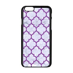 Tile1 White Marble & Purple Denim (r) Apple Iphone 6/6s Black Enamel Case