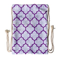 Tile1 White Marble & Purple Denim (r) Drawstring Bag (large) by trendistuff