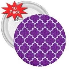 Tile1 White Marble & Purple Denim 3  Buttons (10 Pack)