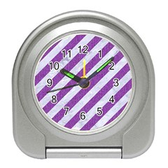Stripes3 White Marble & Purple Denim (r) Travel Alarm Clocks by trendistuff